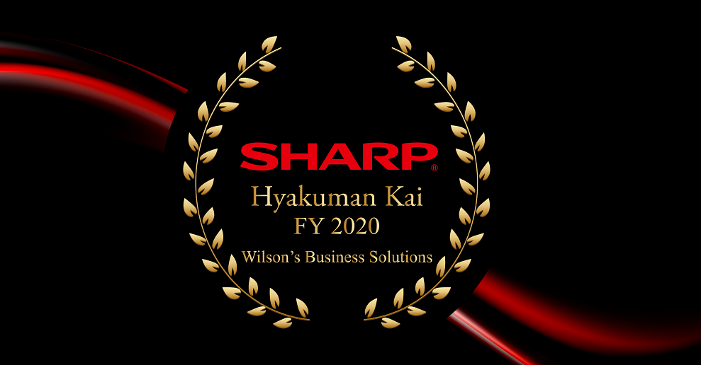 Sharp Electronics of Canada has recognized Wilson's Business Solutions, Dryden, as a Hyakuman Kai Dealer for the fiscal year 2020